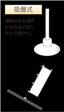 吸盤式 傾斜のある場所にも自由に取り付け可能です。